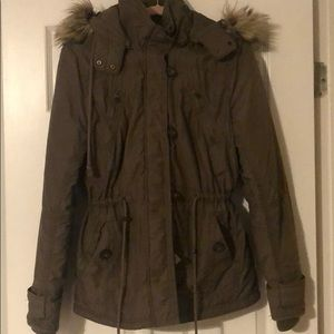 Brown American eagle fur hooded jacket size L